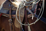 Straps Prints - Western saddle I Print by Harold E McCray