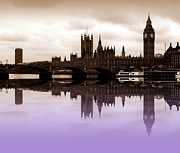 London Skyline Art - Westminster Lilac by Sharon Lisa Clarke