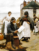 White Beard Metal Prints - When the Boats are Away Metal Print by Walter Langley