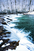 Rushing Stream Acrylic Prints - Whitaker Falls in Winter Acrylic Print by Thomas R Fletcher
