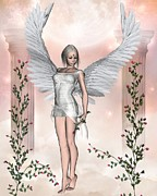 Youthful Digital Art Posters - White Angel with Roses Poster by Fairy Fantasies