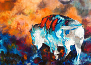 Spirit Buffalo Art Posters - White Buffalo Ghost Poster by Karen Kennedy Chatham