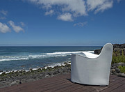 Sea Platform Prints - White chair on a platform along the Atlantic Ocean Print by Jan Marijs