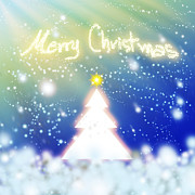 Blue Digital Art Originals - White Christmas Tree by Atiketta Sangasaeng