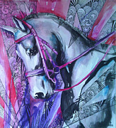 Horse Drawings - White Horse by Slaveika Aladjova