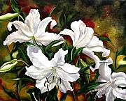 Faa Painting Prints - White Lilies Print by Alfred Ng