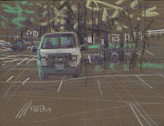Parking Drawings - White Truck by Donald Maier