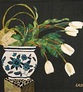 Art Quilts Tapestries - Textiles - White Tulips by Lynda K Boardman