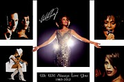 Songwriter Mixed Media Acrylic Prints - Whitney Houston Tribute Acrylic Print by Amanda Struz