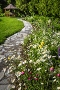 Outdoor Garden Prints - Wildflower garden and path to gazebo Print by Elena Elisseeva