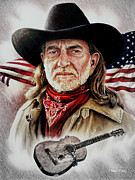 Fine American Art Mixed Media Prints - Willie Nelson American Legend Print by Andrew Read