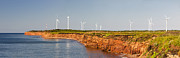 Ocean Panorama Prints - Wind turbines on atlantic coast Print by Elena Elisseeva