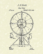Wheel Drawings Metal Prints - Wind Wheel 1865 Patent Art Metal Print by Prior Art Design