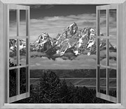 Destinations Digital Art Digital Art - Window to the Grand Tetons by Mountain Dreams