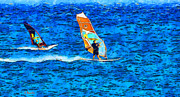 Surreal Landscape Painting Metal Prints - Windsurfing Metal Print by George Rossidis