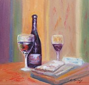 Wine Bottle Paintings - Wine and Blue Cheese by Carolyn Jarvis