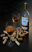 Hardwood Floor Prints - Wine and Corks Print by Douglas J Fisher
