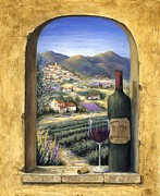 Red Wine Bottle Painting Posters - Wine and Lavender Poster by Marilyn Dunlap