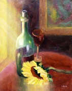 Wine Bottle Paintings - Wine and Sunflower by Carolyn Jarvis