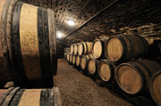 Foods Photo Prints - Wine barrels in a cellar. Cote dOr. Burgundy. France. Europe Print by Bernard Jaubert