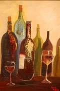 Wine Glasses Painting Originals - Wine bottles in cellar by Lynn Beazley Blair