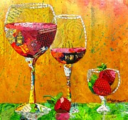 Wine Glass Mixed Media Posters - Wine Dancers Poster by Kathy Fitzgerald