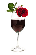 Wine Glasses Posters - Wine with red rose Poster by Elena Elisseeva