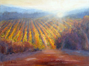 Sunset In Wine Country Paintings - Winery Light by Carolyn Jarvis