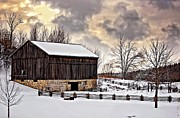 Ontario Landscape Print Posters - Winter Barn  Poster by Steve Harrington