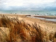 Lake Michigan Digital Art Metal Prints - Winter Beach at Pier Cove ll Metal Print by Michelle Calkins