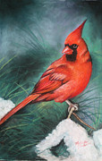 Red Cardinals In Snow Prints - Winter Cardinal Print by Melinda Saminski