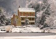 Fran J Scott Metal Prints - Winter Farm House Metal Print by Fran J Scott