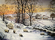 Farm Fields Paintings - Winter In The Ribble Valley  by Andrew Read