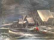 Snowy Evening Painting Posters - Winter Landscape Poster by Egidio Graziani
