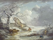Storm Clouds Paintings - Winter Landscape by Pg Reproductions