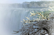 Horseshoe Falls Framed Prints - Winter Niagara Falls Framed Print by Charline Xia