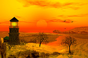 Lighthouse At Sunset Digital Art - Winter Ocean Scene by John Junek