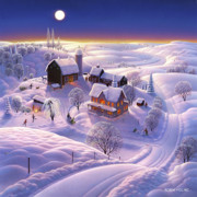Folk Art Painting Posters - Winter on the Farm Poster by Robin Moline