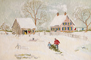Sandra Cunningham - Winter scene of a farm with people/ digitally altered