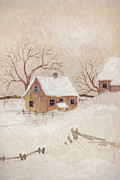 Sandra Cunningham - Winter scene with farmhouse/ digitally altered