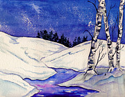 Snowscape Painting Metal Prints - Winter Sky Metal Print by Brenda Owen