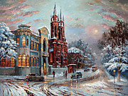 Nightlight Paintings - Winter Street by Dmitry Spiros