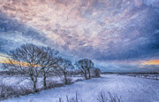 Snow Scene Digital Art Framed Prints - Winter Sunrise Framed Print by Antony McAulay