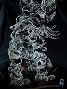 Cat Sculpture Posters - Wire Cat Poster by Troy Howard