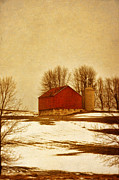 Snow Scene Framed Prints - Wisconsin Barn in Winter Framed Print by Jill Battaglia