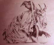 Mountain Goat Drawings - Wise Old Goat by Derrick Higgins