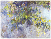 Flowering Vine Posters - Wisteria Poster by Claude Monet