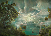 Fairy Tale Witch Metal Prints - Witch Island.  By fantasy landscape artist Philippe Fernandez Metal Print by Philippe Fernandez