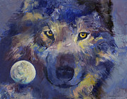 Luna Painting Posters - Wolf Poster by Michael Creese