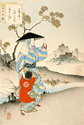 Woodblock Posters - Woman and Child Poster by Ogata Gekko